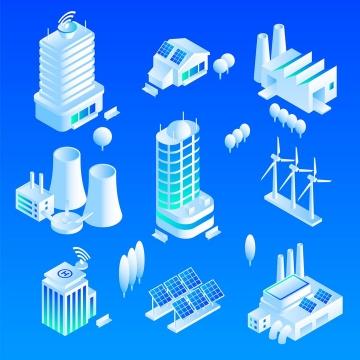 各种白色的绿色环保主题清洁能源建筑示意图免抠矢量图片素材