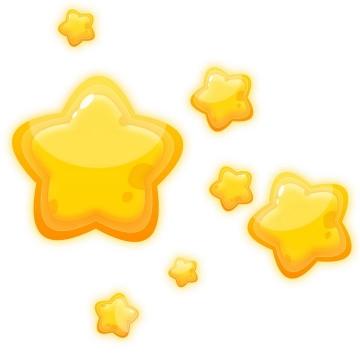 水晶立体风格可爱卡通黄色五角星星星图案图片免抠素材