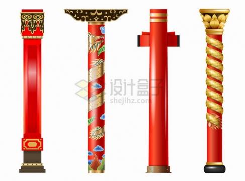 4款华丽的中国传统建筑支撑柱子png图片免抠矢量素材