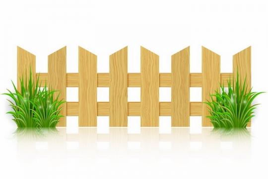 带有绿色草丛的木栅栏木围栏png图片免抠矢量素材