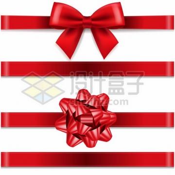 4款大红色的蝴蝶结丝带装饰561629 png图片素材