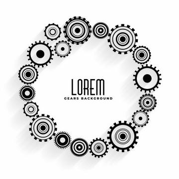 各种黑色的齿轮联动装置组成一个圆环文本框png图片免抠矢量素材