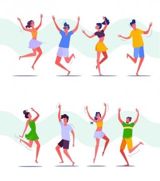 扁平插画风格正在跳舞的年轻人图片免抠矢量素材
