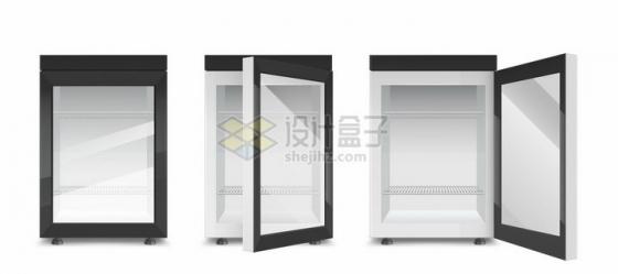 迷你小电冰箱3个不同状态png图片素材