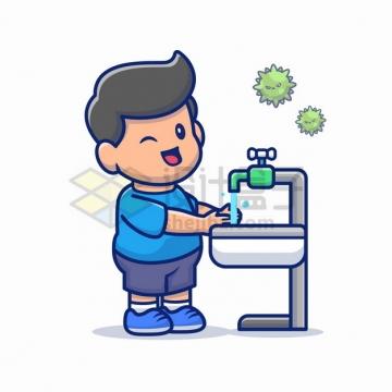 卡通男孩在水龙头前洗手预防新型冠状病毒png图片素材
