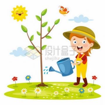 卡通小女孩正在浇水植树节植树造林png图片免抠矢量素材