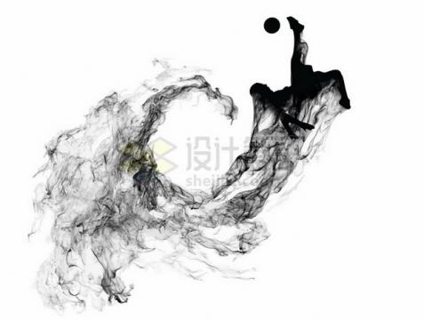 拖着滚滚浓烟水墨画风格踢足球png图片素材