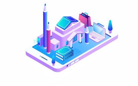 2.5D风格手机上立体学校建筑和铅笔书本笔记本电脑png图片免抠矢量素材