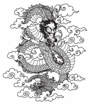 手绘风格脚踩祥云的黑色线条中国龙图案png图片免抠矢量素材