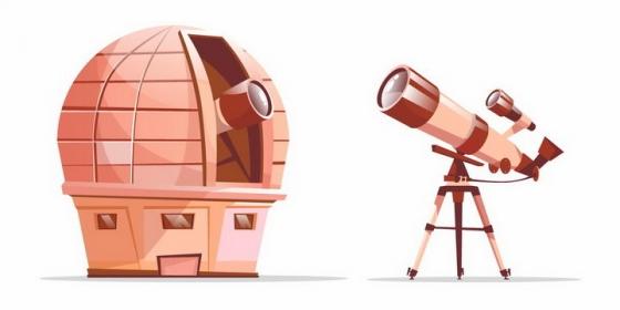卡通漫画风格的天文望远镜和天文台png图片免抠矢量素材