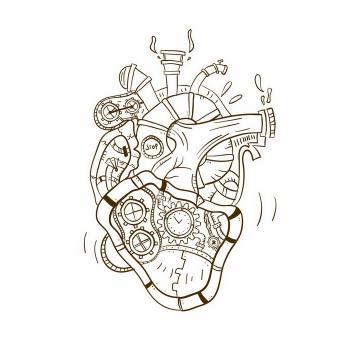 手绘线条蒸汽朋克风格齿轮心脏png图片免抠矢量素材