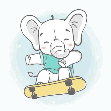 正在玩滑板的卡通小象图片免抠矢量素材