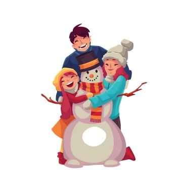 插画风格带着女儿堆雪人的年轻爸爸和妈妈幸福的一家三口图片免抠矢量图素材