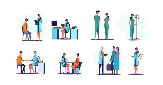 8款扁平插画风格医院的医护人员医生和护士图片免抠矢量素材