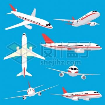 白色飞机大型客机的七个不同的角度562065图片免抠矢量素材