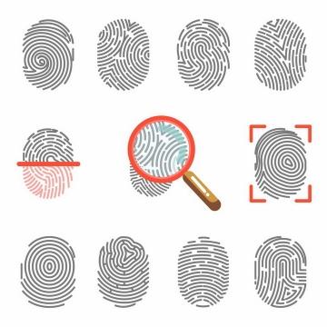 11款灰色指纹扫描指纹识别图案png图片免抠eps矢量素材