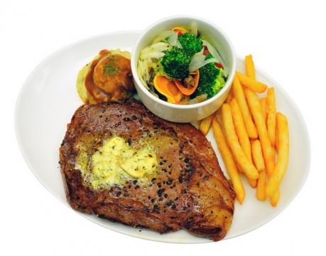 香煎猪大排和薯条蔬菜汤200669png图片素材