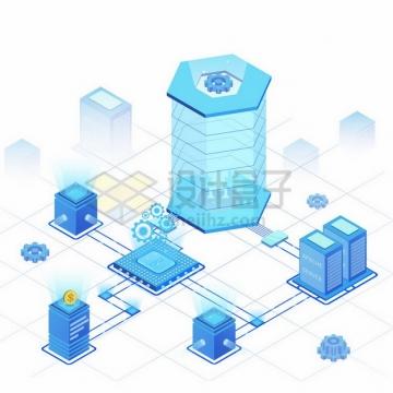 蓝色2.5D风格CPU服务器AI智能技术532931png免抠图片素材