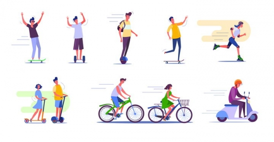 8款扁平插画风格玩平衡车骑自行车和摩托车的年轻人图片免抠矢量素材