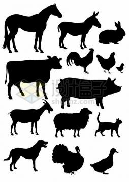 骏马毛驴兔子奶牛公鸡山羊猪绵羊猫咪狗狗鸭子等家禽牲畜动物剪影215230 png图片素材