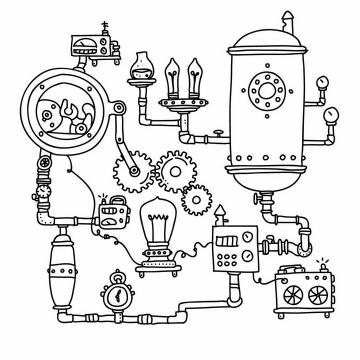 黑色线条手绘蒸汽朋克风格蒸汽机电灯齿轮组成的联动装置png图片免抠矢量素材