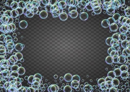 各种彩色泡泡肥皂泡组成的边框图片免抠矢量素材