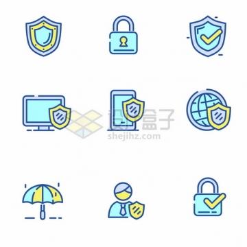 蓝绿色MBE风格防护盾挂锁等网络安全icon图标png图片矢量图素材