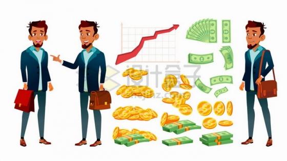 卡通商务人士与金币美元钞票投资等png图片免抠矢量素材