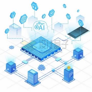 蓝色CPU连接着服务器AI智能技术153289png免抠图片素材