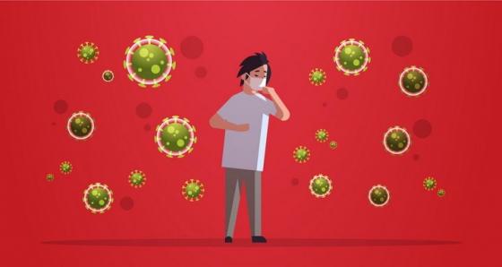 戴口罩的卡通男人和周围空气中漂浮着的新型冠状病毒png图片免抠矢量素材