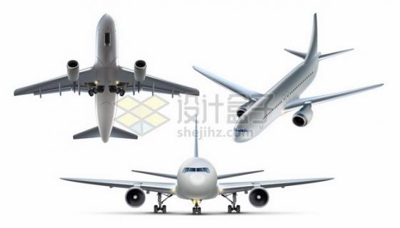 金属银色飞机大型客机三视图141712 png图片素材