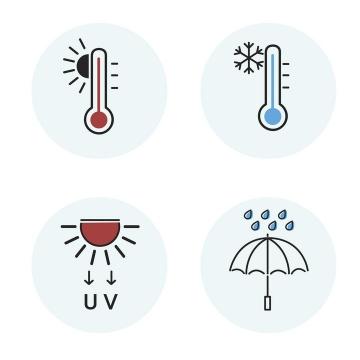4款简约风格防晒防寒防紫外线防雨等天气图标图片免抠矢量素材