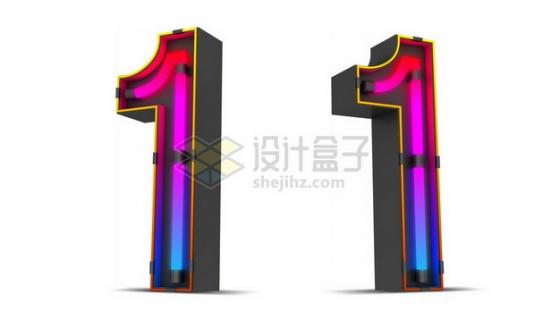 C4D风格紫红色霓虹灯管效果3D立体数字一1艺术字体700993psd/png图片素材