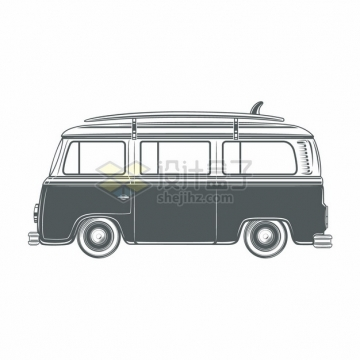 卡通旅行车侧面图手绘插画png图片素材