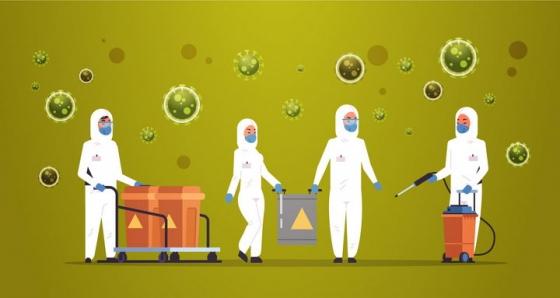 身穿防护服的医疗人员正在消毒和周围空气中漂浮着的新型冠状病毒png图片免抠矢量素材