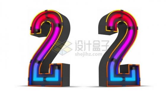 C4D风格紫红色霓虹灯管效果3D立体数字二2艺术字体284750psd/png图片素材