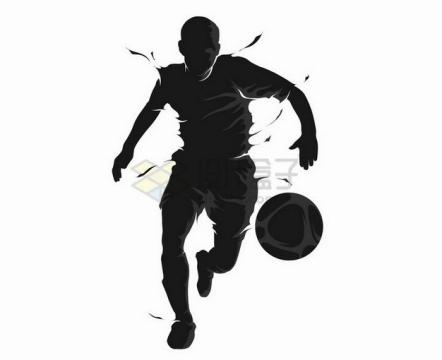 抽象风格踢足球的运动员撕裂风剪影png图片素材