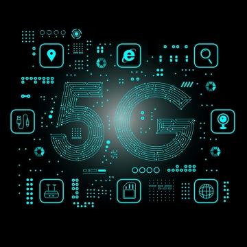 创意蓝色线条组成的5G字体新技术高科技图片免抠素材