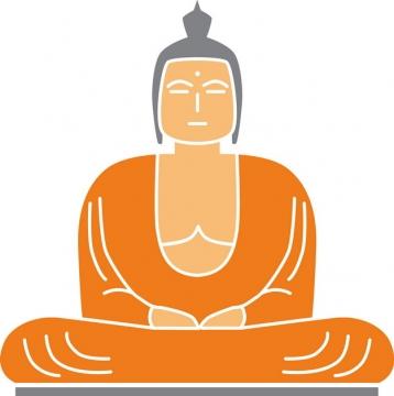 线条打坐的卡通佛祖雕像png图片素材
