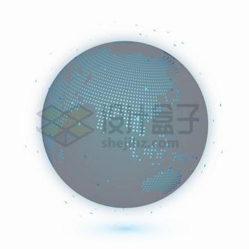 科技风格蓝色圆点组成的地球模型可以看到亚洲和印度洋png图片免抠矢量素材