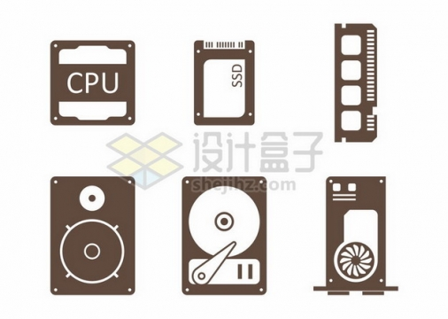 CPU处理器SSD固态硬盘内存条和显卡等电脑配件图标157720png图片素材