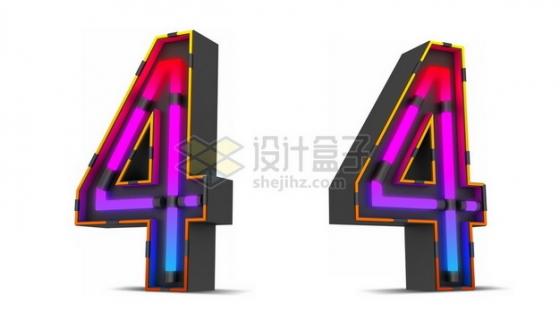 C4D风格紫红色霓虹灯管效果3D立体数字四4艺术字体968632psd/png图片素材