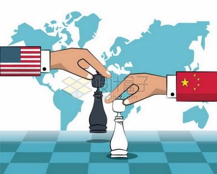 正在下棋的美国和中国象征了中美贸易战和竞争png图片免抠矢量素材