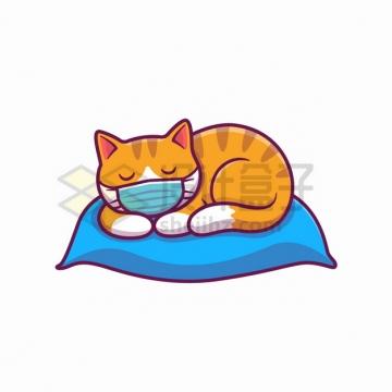 MBE风格戴着口罩的猫咪趴在枕头上睡觉png图片素材
