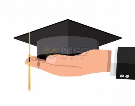 一只手上托着的博士帽学士帽毕业证书大学毕业png图片素材