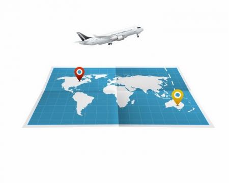 展开的世界地图和上面的白色飞机世界旅游png图片免抠矢量素材
