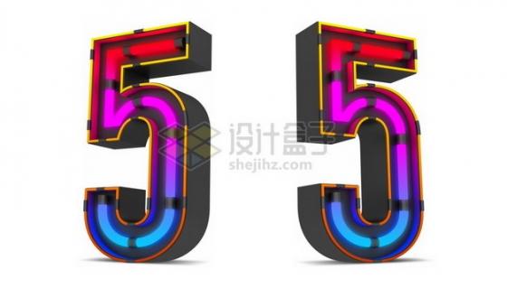 C4D风格紫红色霓虹灯管效果3D立体数字五5艺术字体655262psd/png图片素材