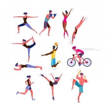 扁平插画风格各种健身操瑜伽自行车跑步等运动图片免抠矢量素材