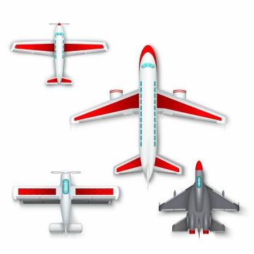 大型客机螺旋桨飞机和战斗机等4款飞机俯视图png图片免抠矢量素材
