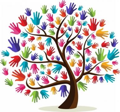 大树上长出彩色手掌印png图片素材